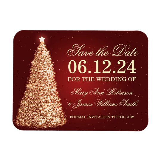 Elegant Christmas Save The Date Gold Red Rectangular