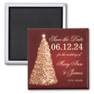 Elegant Christmas Save The Date Gold Square Magnet