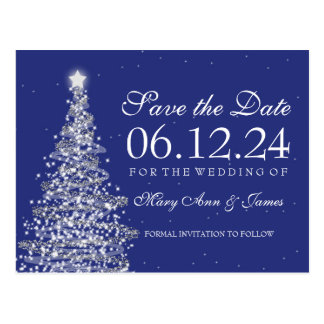 Elegant Christmas Save The Date Silver Navy Postcard