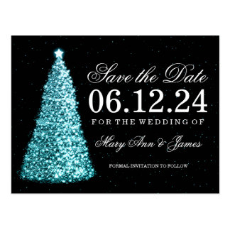 Elegant Christmas Save The Date Turquoise Postcard