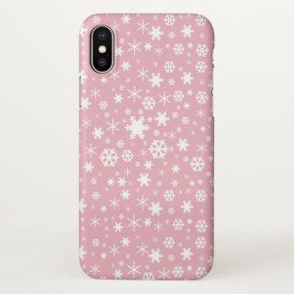 Elegant Christmas snowflake pattern pastel pink iPhone X Case