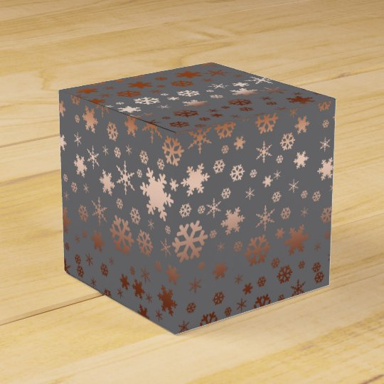 Elegant Christmas snowflake pattern rose gold Favour Box