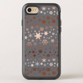 Elegant Christmas snowflake pattern rose gold OtterBox Symmetry iPhone 8/7 Case
