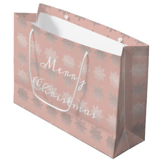 Elegant Christmas snowflake silver rose gold Large Gift Bag