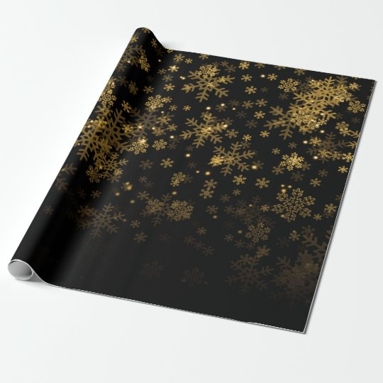 Elegant Christmas Snowflake Sparkle Gold Wrapping Paper