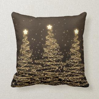 Elegant Christmas Sparkling Trees Black Brown Cushion