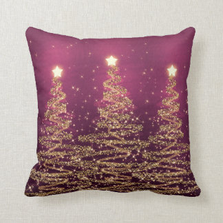 Elegant Christmas Sparkling Trees Pink Purple Cushion
