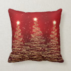 Elegant Christmas Sparkling Trees Red Cushion