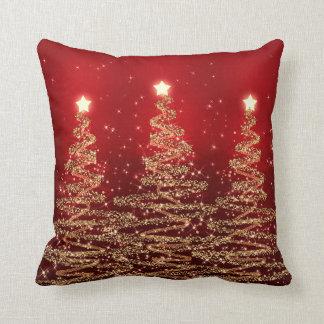 Elegant Christmas Sparkling Trees Red Cushion