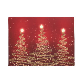 Elegant Christmas Sparkling Trees Red Doormat
