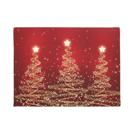 Elegant Christmas Sparkling Trees Red Doormat