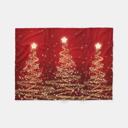 Elegant Christmas Sparkling Trees Red Fleece Blanket