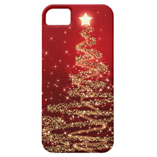 Elegant Christmas Sparkling Trees Red iPhone 5 Case