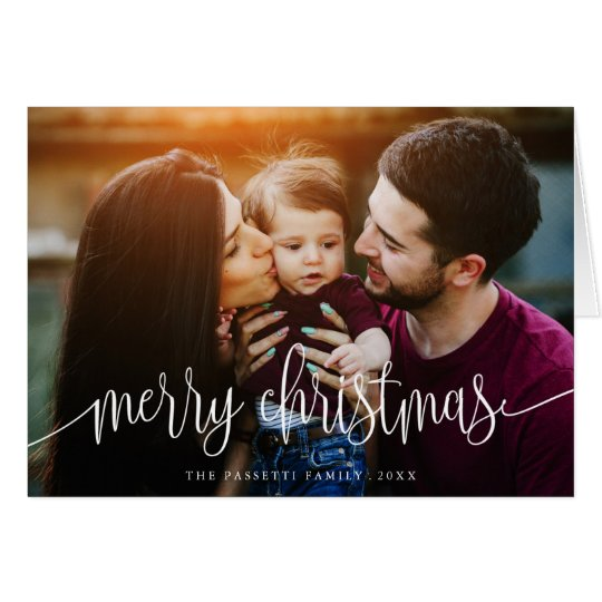 Elegant Christmas Text Photo Greeting Card | White
