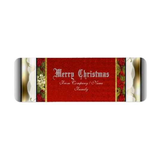 Elegant Christmas traditional snow Return Address Label