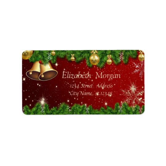 Elegant Christmas Tree Branches,Bell,Ornaments Label