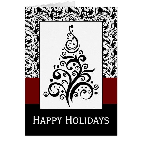 elegant christmas tree damask Holiday Cards