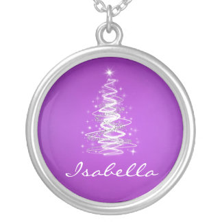 Elegant Christmas Tree Name Lavender Purple Silver Plated Necklace