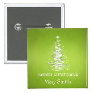 Elegant Christmas Tree Name Lime Green Custom 15 Cm Square Badge