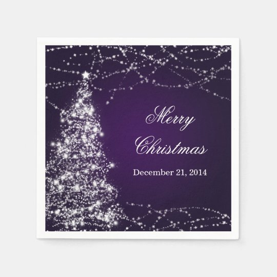 Elegant Christmas Tree Shining Stars Purple Disposable Napkin