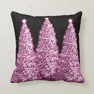 Elegant Christmas Trees Pink Cushion