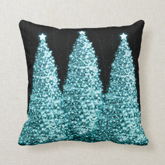 Elegant Christmas Trees Turquoise Cushion