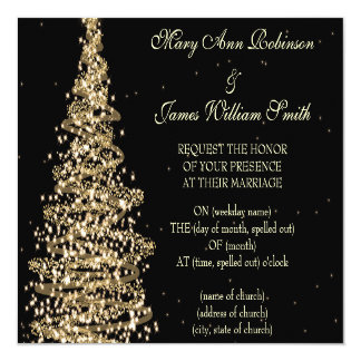 Elegant Christmas Wedding Gold Black 13 Cm X 13 Cm Square Invitation Card