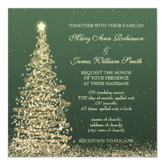 Elegant Christmas Wedding Gold Green 13 Cm X 13 Cm Square Invitation Card