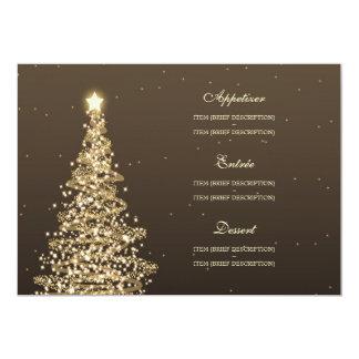 Elegant Christmas Wedding Menu Gold Card