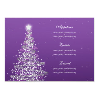 Elegant Christmas Wedding Menu Purple Card