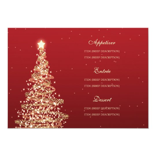 Elegant Christmas Wedding Menu Red Gold Card