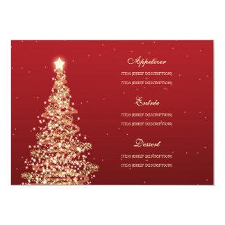 Elegant Christmas Wedding Menu Red Gold 13 Cm X 18 Cm Invitation Card