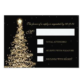 Elegant Christmas Wedding RSVP Gold Black Card