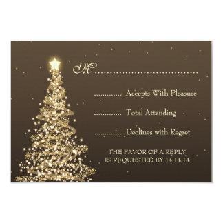 Elegant Christmas Wedding RSVP Gold Brown 9 Cm X 13 Cm Invitation Card