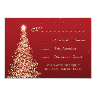 Elegant Christmas Wedding RSVP Red Card