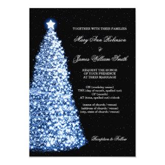 Elegant Christmas Wedding Sparkle Blue Invite