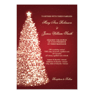 Elegant Christmas Wedding Sparkle Gold Red Card