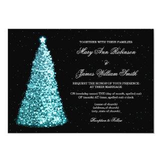 Elegant Christmas Wedding Sparkle Tree Turquoise 13 Cm X 18 Cm Invitation Card