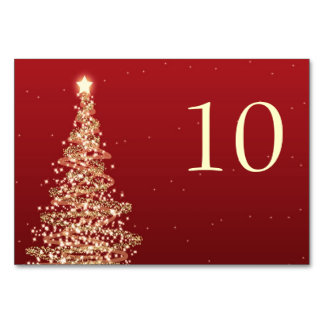 Elegant Christmas Wedding Table Number Red Gold Table Card