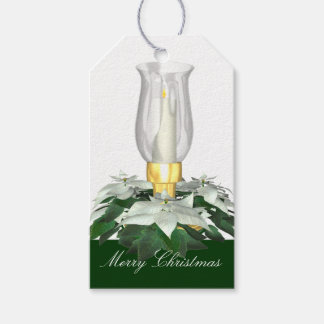 Elegant Christmas White Candle & Poinsetta