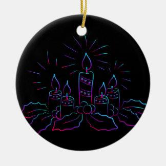 Elegant Christmas wreath and candles neon black Christmas Ornament