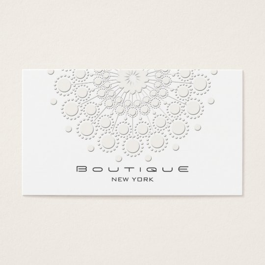 Elegant Circle Motif White on White Business Card