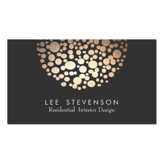 Elegant Circles Gold  Sphere Black Modern Pack Of Standard Business Cards