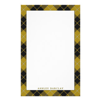 Elegant Clan Barclay Yellow Dress Tartan Plaid Customized Stationery