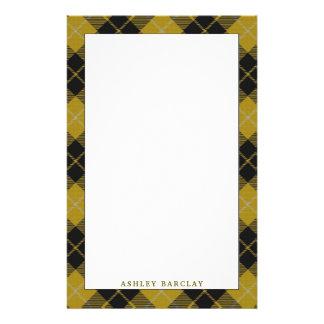 Elegant Clan Barclay Yellow Dress Tartan Plaid Stationery