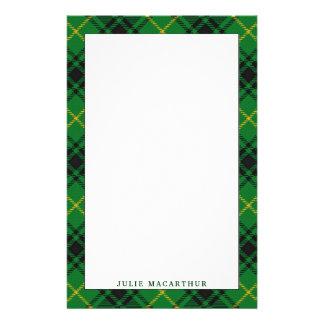 Elegant Clan MacArthur Tartan Plaid Stationery Paper