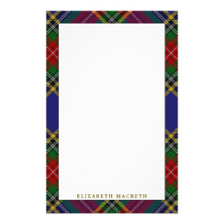 Elegant Clan MacBeth Tartan Plaid Customised Stationery