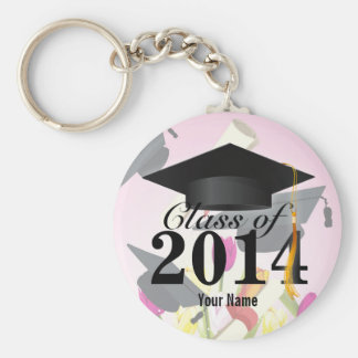 Elegant Class of 2014 Pink Graduation Basic Round Button Key Ring