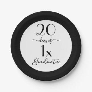 Elegant Class Of [YEAR] Graduate Black Typography Paper Plate