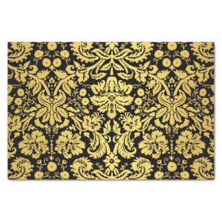 Elegant Classic Black and Gold Royal Damask Tissue Paper